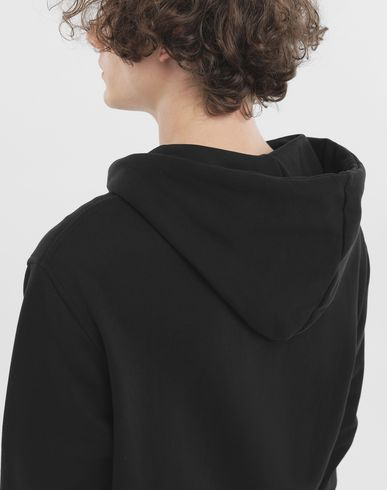 SWEATERS Zip-detail cotton hoodie Black