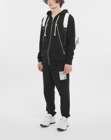 KNITWEAR Zip-detail cotton hoodie Black