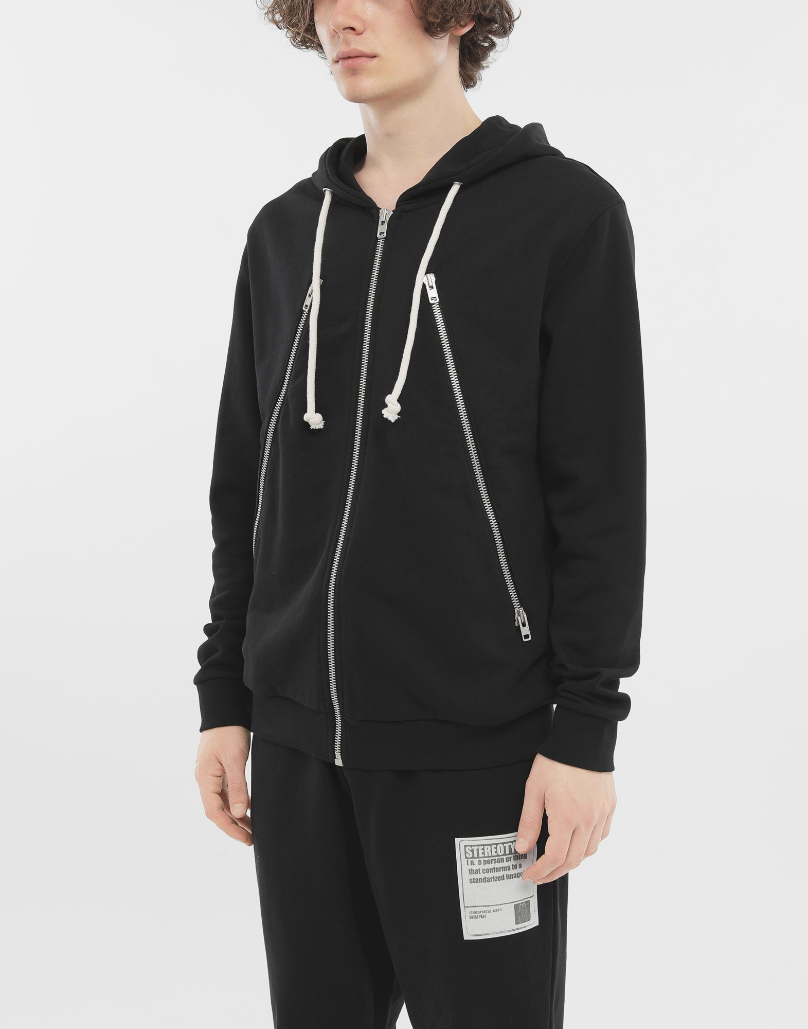 MAISON MARGIELA Zip-detail cotton hoodie Hooded sweatshirt Man r
