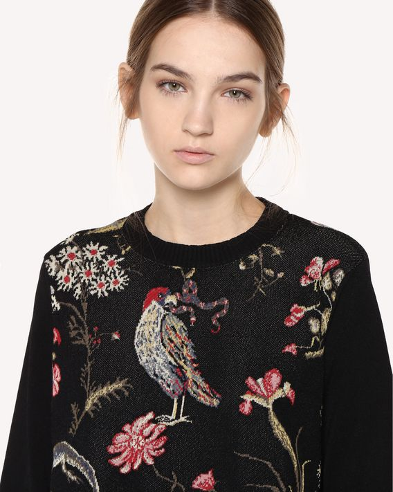 REDValentino Stretch viscose Flora and Fauna jacquard jumper