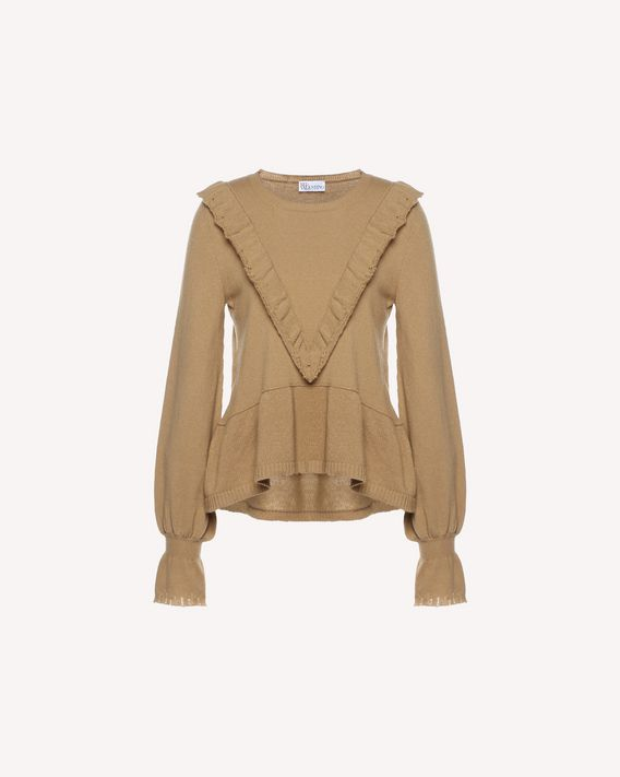 REDValentino Ruffle detail wool blend sweater