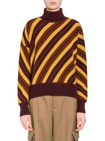 Marni Turtleneck sweater in striped virgin wool Woman