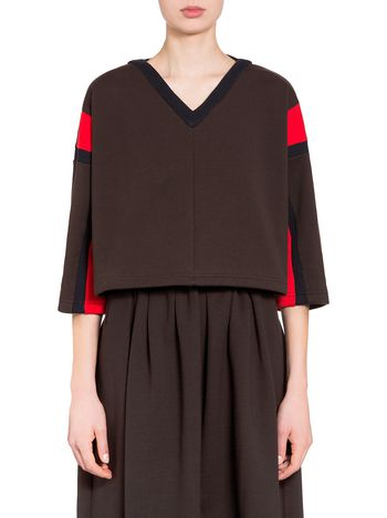 Marni Sweatshirt in brushed jersey with contrasting color sleeves Woman