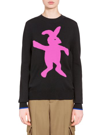 Marni Sweater in virgin wool and nylon with pink rabbit Woman