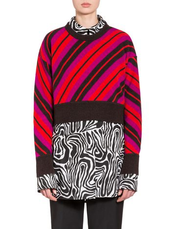 Marni Pure virgin wool jersey knit with diagonal stripes Woman