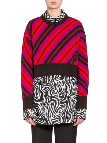 Marni Maglia in lana vergine motivo righe diagonali Donna