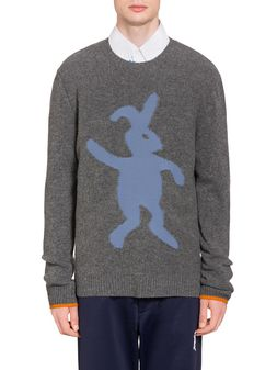 Marni Virgin wool sweater with rabbit silhouette Man