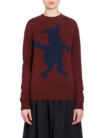 Marni Sweater in virgin wool and nylon with blue rabbit Woman