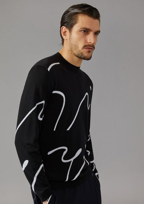 Virgin wool sweater with intarsia signature
