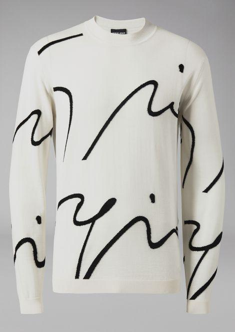 Virgin wool sweater with intarsia signature