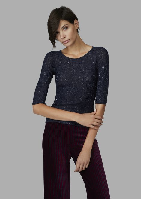 sweater with sequins and ribbed detail