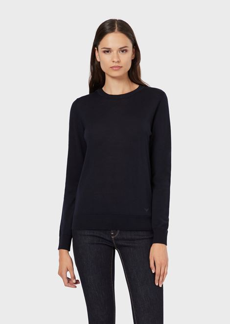 Crew-neck sweater in pure virgin wool