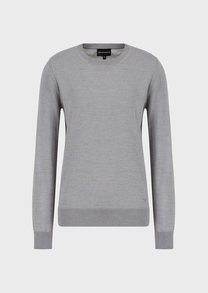 561779082 Crew-neck jumper in cob stitch pure virgin wool