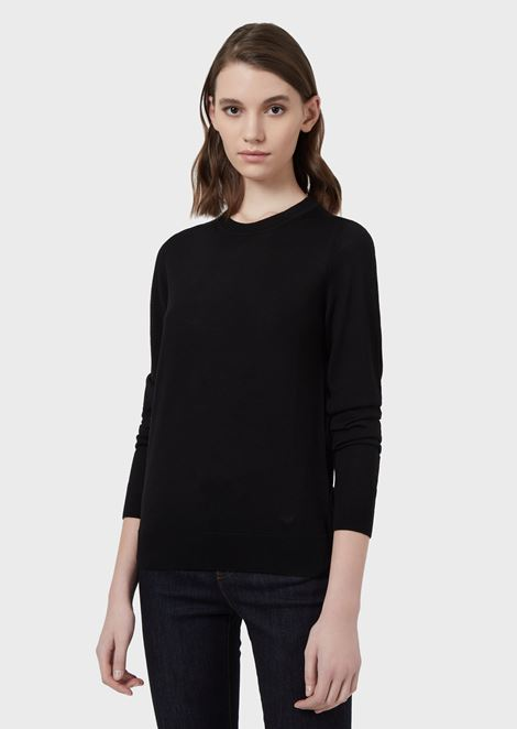 Plain knit pure virgin wool crew-neck sweater