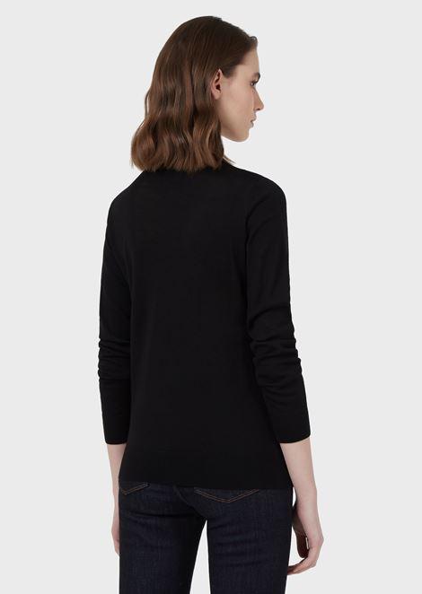 Plain knit pure virgin wool crew-neck sweater