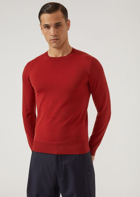 Sweater in pure virgin wool with embroidered logo