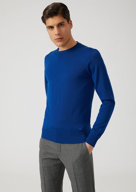 Jumper in pure virgin wool with embroidered logo