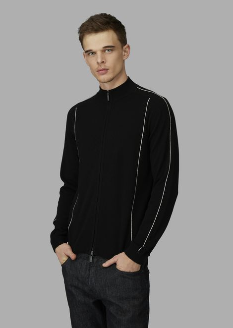 Full zip cardigan in cashmere with contrasting piping