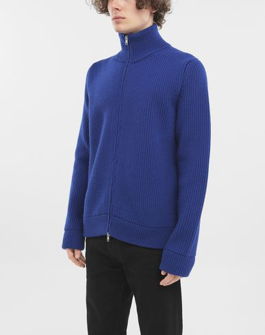 SWEATERS Zip-up ribbed sweater Bright blue