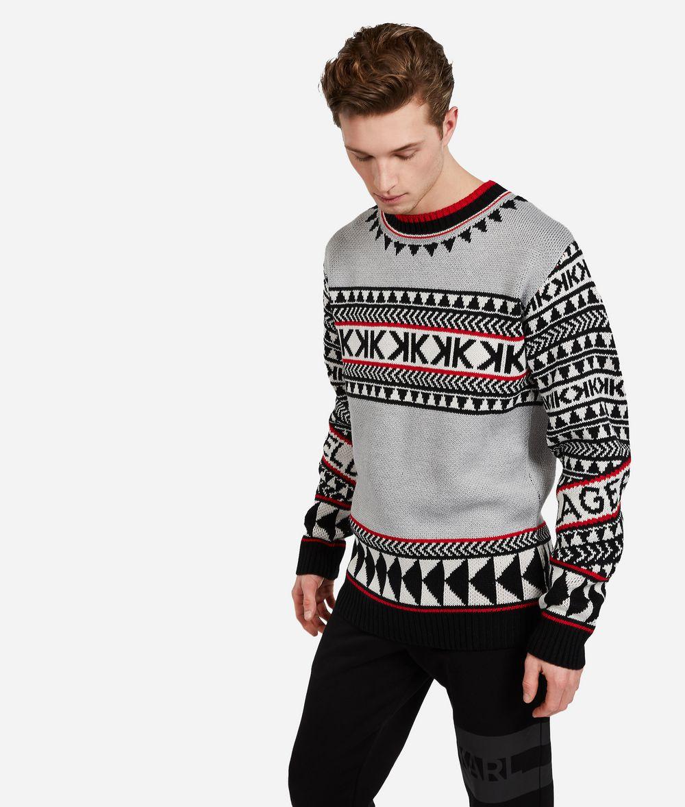 KARL LAGERFELD Wool Blend Fair Isle Sweater Sweater Man f