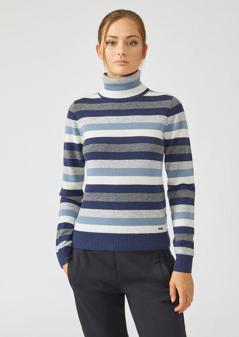 543ef8ecc21c2 Pull à col roulé en laine et cachemire à rayures colorées