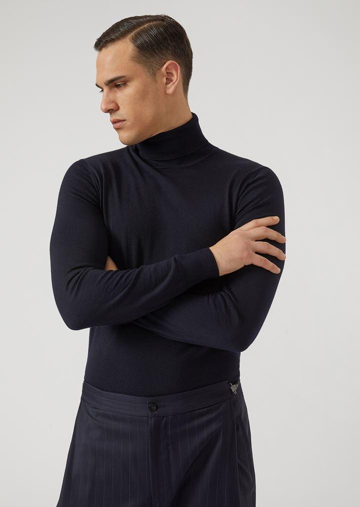 d525577667ae Pure virgin wool turtleneck sweater   Man   Emporio Armani