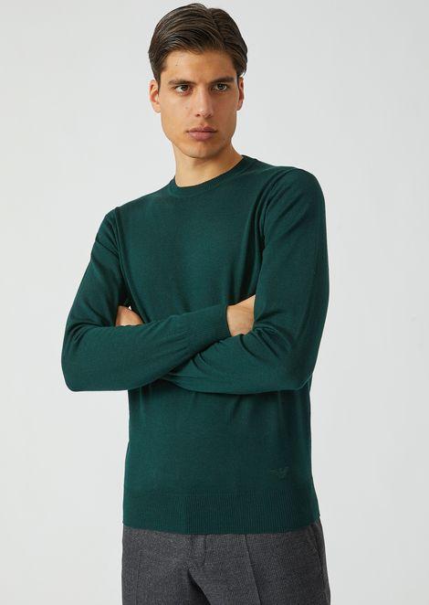 Crew-neck sweater in pure virgin wool