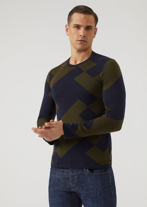 Pure virgin wool sweater with maxi houndstooth motif