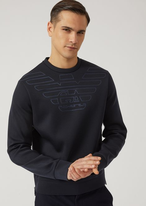 Lightweight neoprene sweatshirt with logo detail