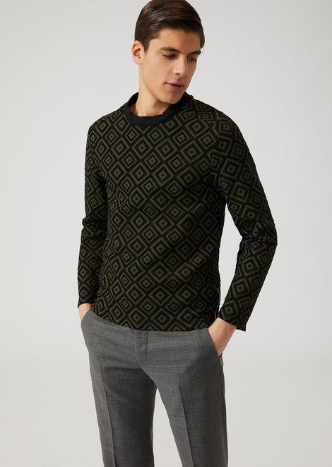 Jersey sweater with devoré rhombus pattern