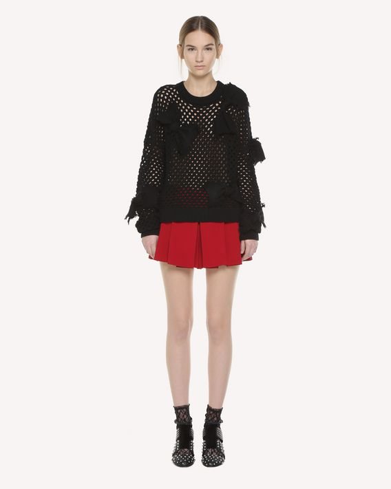 REDValentino Frayed Bow detail wool sweater
