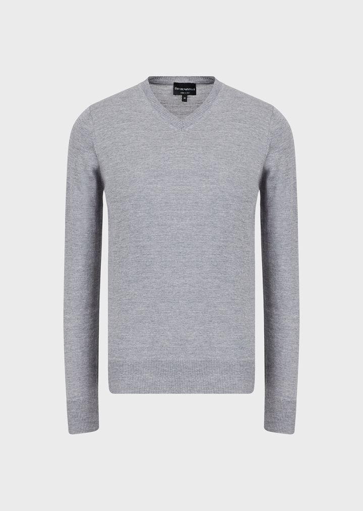 7f83da7e8f4d V-Neck Sweater in Virgin Wool   Man   Emporio Armani