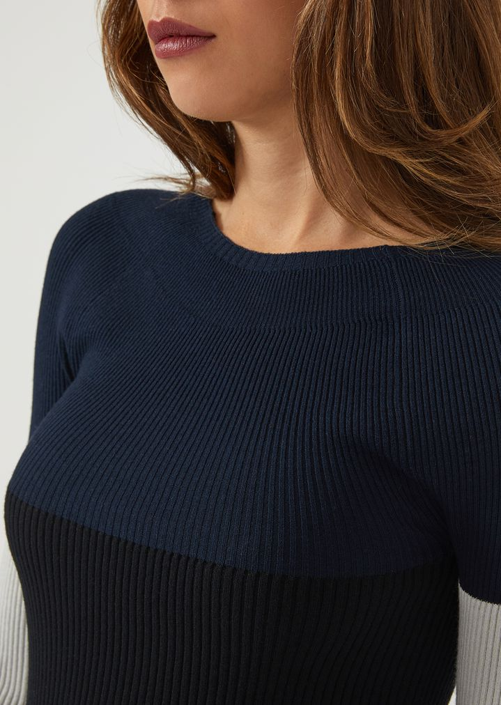 946ee6536 Ribbed jumper with contrasting colour blocks