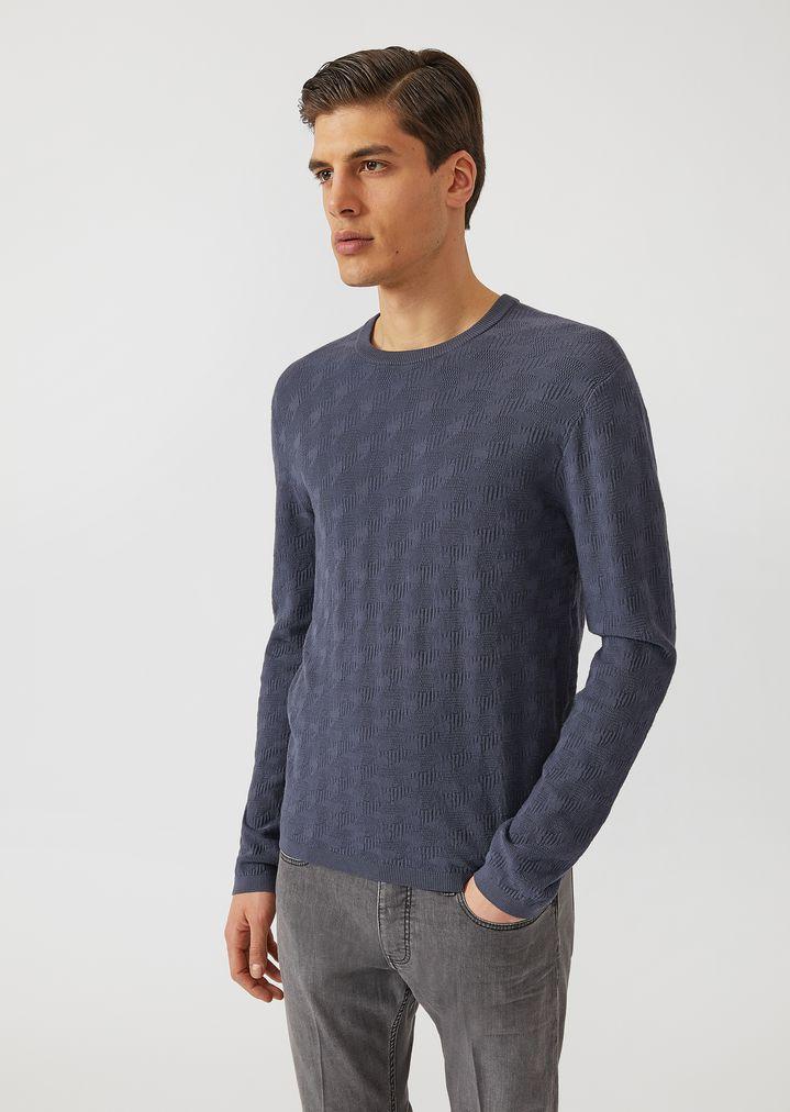 6b7f138eda Sweater with all over jacquard pattern | Man | Emporio Armani