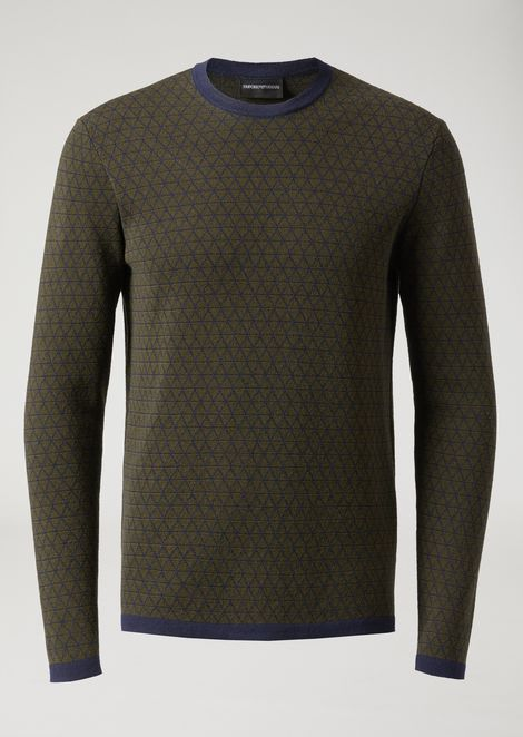 Sweater in virgin wool with geometric jacquard motif