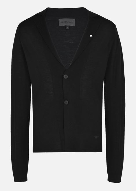 Cardigan in Plain Knit Virgin Wool