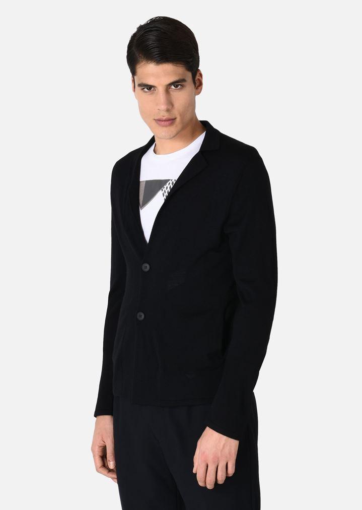 505286845 Cardigan in Plain Knit Virgin Wool
