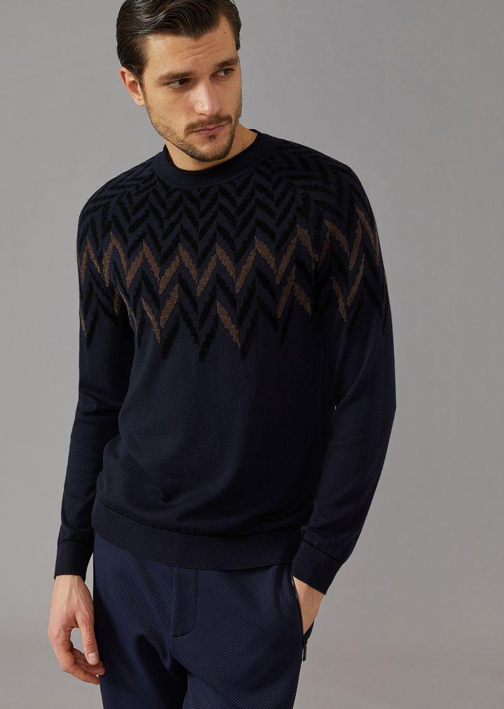 a61f8223d8 Crew-neck jumper with chevron pattern jacquard inlay | Man | Giorgio ...
