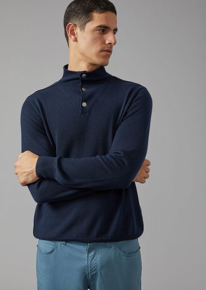 dc07a4ea98a3 Cashmere sweater with press stud neck   Man   Giorgio Armani