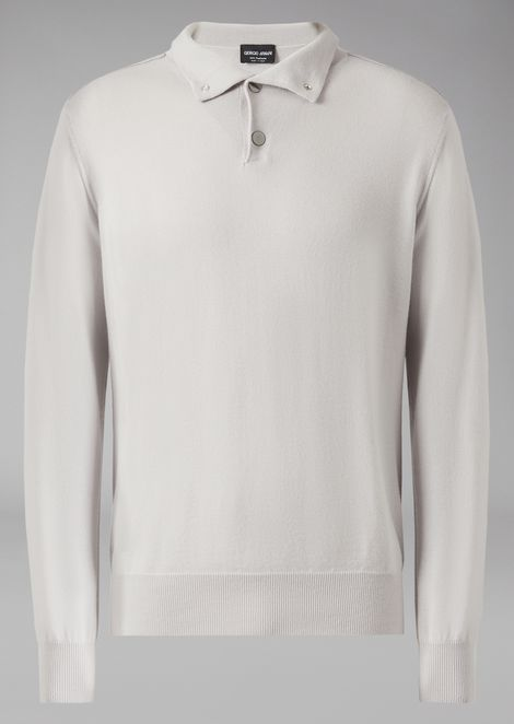 Cashmere sweater with press stud neck