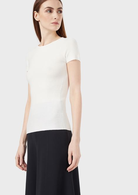 Short-sleeved knitted top in ottoman fabric