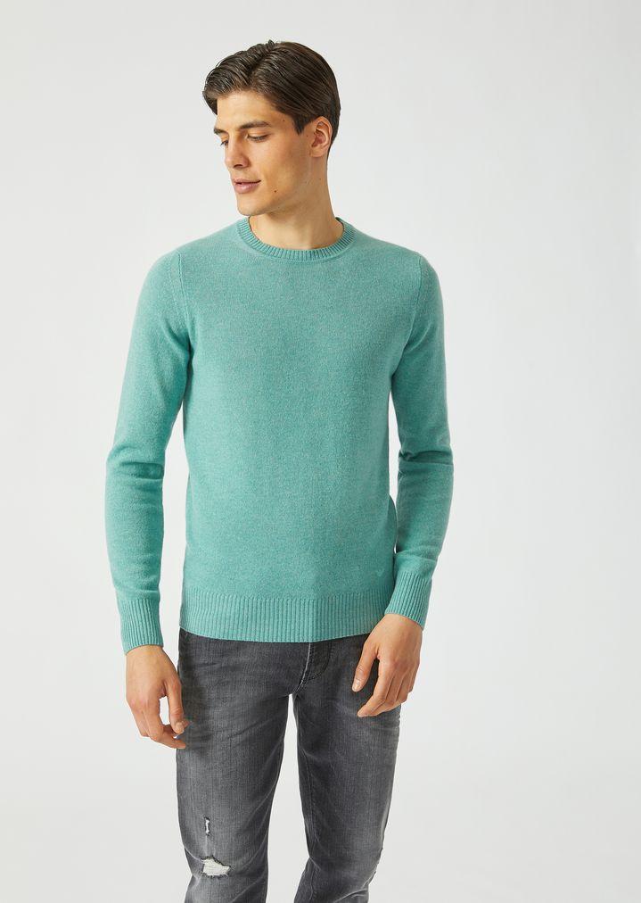 69a082d6fe0d Crew neck sweater in single jersey cashmere   Man   Emporio Armani