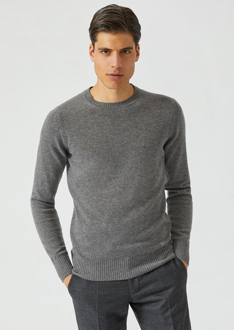 Crew neck jumper in single jersey cashmere