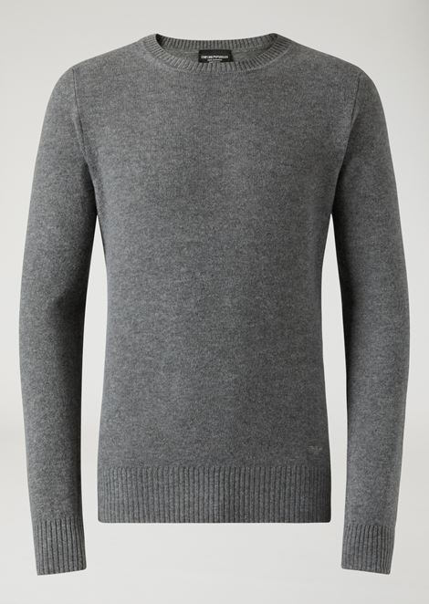 Crew neck sweater in single jersey cashmere