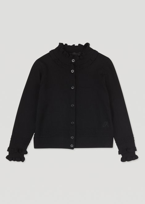 Cardigan with high neck and ruffle edging