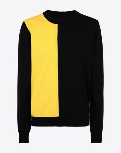 MAISON MARGIELA Crewneck sweater [*** pickupInStoreShippingNotGuaranteed_info ***] Two-tone wool pullover f