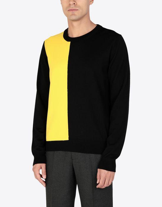 MAISON MARGIELA Two-tone wool pullover Crewneck sweater [*** pickupInStoreShippingNotGuaranteed_info ***] r