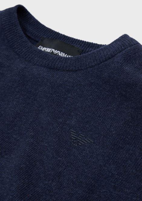 Jersey de punto liso de mezcla de algodón con logotipo en la parte delantera