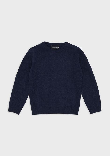 Cotton blend plain knit sweater with a logo on the front