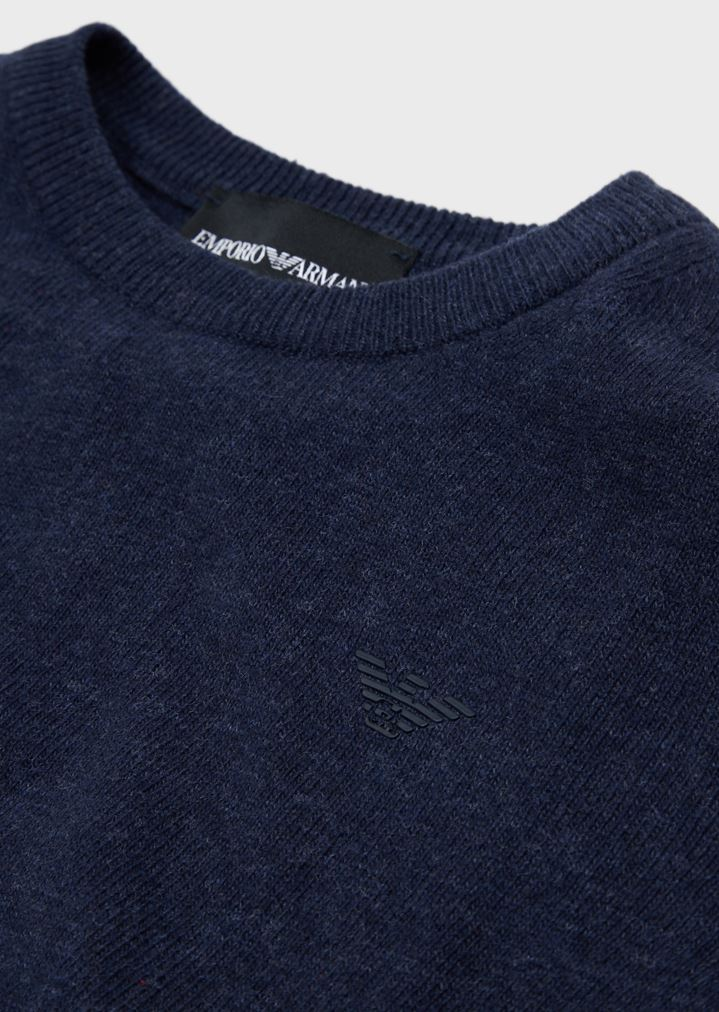 87a8732e06 Cotton blend plain knit sweater with a logo on the front